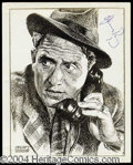 Autographs, Spencer Tracy Rare Signed Sketch