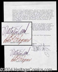 Autographs, Natalie Wood & Robert Wagner Signed Document