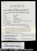 Autographs, Louis Armstrong Signed Contract Agreement