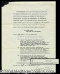 Autographs, Jerome Kern Signed Contract Agreement