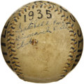 Autographs:Baseballs, The Earliest Known Satchel Paige Single Signed Baseball, 1935. Intriguing and important relic is perhaps the only known sur...