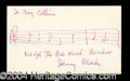 Autographs, Johnny Marks Signed Musical Notation