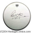 Autographs, Ringo Starr Signed Drumhead (Beatles)