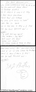 Autographs, Stray Cats Original Handwritten Lyrics