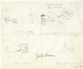 "Animation Art:Production Drawing, Joe Barbera - ""Designs On Jerry"" Tom and Jerry Storyboard AnimationArt (1955)...."