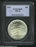 Modern Issues: , 1991-D $1 USO Silver Dollar MS68 PCGS. ...