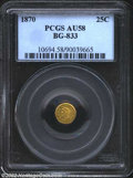 California Fractional Gold: , 1870 25C Liberty Round 25 Cents, BG-833, R.7, AU58 PCGS. ...