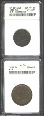 1835 1/2 C Half Cent--Scratched--ANACS, XF Details, Net VF30, B-1, C-1, R.1, purple, olive, and golden-brown patina, a p...