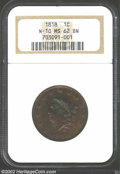 Large Cents: , 1818 1C MS62 Brown NGC. N-10, R.1. A remarkably well ...