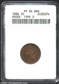 Proof Indian Cents: , 1886 1C Type Two PR64 Brown ANACS. A well struck example ...