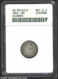Seated Dimes: , 1844 10C--Cleaned--ANACS. VG Details, Net Good 4. This ...