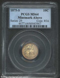 Seated Dimes: , 1875-S 10C Mintmark Above Bow MS64 PCGS. A lustrous and ...