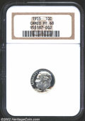 Proof Roosevelt Dimes: , 1955 10C PR68 Cameo NGC. A brilliant white Dime that has ...