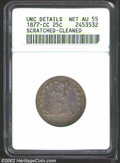 Seated Quarters: , 1877-CC 25C--Scratched, Cleaned--ANACS. Unc Details, Net ...