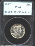 Proof Barber Quarters: , 1897 25C PR62 PCGS. Mostly brilliant with predictably ...