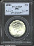 SMS Kennedy Half Dollars: , 1998-S 50C SMS MS69 PCGS. A few freckles of tan-brown ...