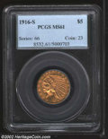 Indian Half Eagles: , 1916-S $5 MS61 PCGS. A few charcoal spots pepper the ...