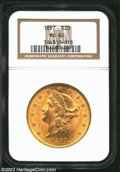 Liberty Double Eagles: , 1897 $20 MS62 NGC. Well defined with pronounced green-...
