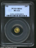 California Fractional Gold: , Undated 25C Liberty Round 25 Cents, BG-221, R.4, MS64 PCGS....