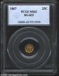 California Fractional Gold: , 1867 25C Liberty Round 25 Cents, BG-825, R.5, MS62 PCGS. ...