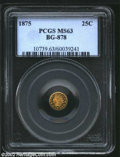 California Fractional Gold: , 1875 25C Indian Round 25 Cents, BG-878, R.4, MS63 PCGS. ...