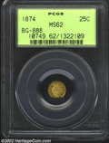 California Fractional Gold: , 1874 25C Indian Round 25 Cents, BG-888, R.6, MS62 PCGS. ...