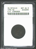 Half Cents: , 1794 1/2 C--Corroded--ANACS. VG Details, Net AG3. B-9, C-...