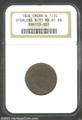 1804 1/2 C Crosslet 4, No Stems MS61 Brown NGC. B-11, C-12, R.2. The only variety that combines a crosslet 4 in the date...