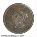 Proof Braided Hair Half Cents: , 1857 1/2 C PR64 Brown PCGS. B-2, R.4. This variety was ...