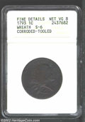 1793 1C Wreath Cent--Vine and Bars--Corroded, Tooled--ANACS. Fine Details, Net VG8. S-6, R.3. The left obverse field app...