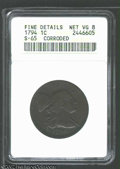 1794 1C Head of 1794--Corroded--ANACS. Fine Details, Net VG8. S-65, R.1. A dark purple-brown Cent that has a rough surfa...