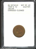1909-S 1C --Corroded, Cleaned--ANACS. AU Details, Net XF40. The light and milky brown color does not appear natural. Fai...