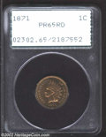 Proof Indian Cents: , 1871 1C PR65 Red PCGS. Bright and unaffected by brown on ...