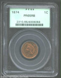 Proof Indian Cents: , 1874 1C PR65 Red and Brown PCGS. Snow-1. The 4 in the ...