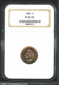 Proof Indian Cents: , 1908 1C PR65 Red NGC. Bright, deeply mirrored fields with ...