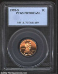 Proof Lincoln Cents: , 1995-S 1C PR70 Deep Cameo PCGS. Pink-red in color, the ...