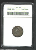 Bust Dimes: , 1809 10C VF20 ANACS. JR-1, R.4. The only known dies. Deep ...