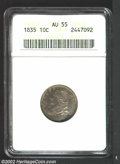 Bust Dimes: , 1835 10C AU55 ANACS. JR-9, R.2. Fancy 8 in date; second T ...