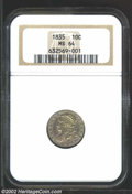 Bust Dimes: , 1835 10C MS64 NGC. JR-1, R.1. Sharply struck with muted ...