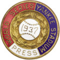 Baseball Collectibles:Others, 1937 World Series Press Pin (New York Yankees). Fine example from the Bronx only shows its flaws upon the closest of inspec...