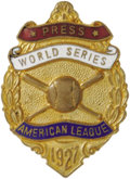 Baseball Collectibles:Others, 1927 World Series Press Pin (New York Yankees). What could be more regal than a glittering golden press pin issued for this...