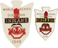 Baseball Collectibles:Others, 1948 World Series Press Pins Lot of 2 (Both Cleveland Indians Versions). From the personal collection of a former Indians s...