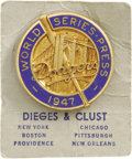 "Baseball Collectibles:Others, 1947 World Series Press Pin (Brooklyn Dodgers). It doesn't get muchmore ""Mint"" than this, as we find the gorgeously design..."
