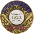 Baseball Collectibles:Others, 1923 World Series Press Pin (New York Yankees). The third time was a charm for the men in pinstripes, as the Yankees claime...