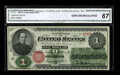 Large Size:Legal Tender Notes, Fr. 16 $1 1862 Legal Tender CGA Gem Uncirculated 67. The frameline is complete around this early Legal Ace. The back is cent...