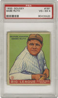 Baseball Cards:Singles (1930-1939), 1933 Goudey Babe Ruth #181 PSA VG-EX 4. The game's most beloved star from the hobby's most beloved pre-war gum issue. Magn...