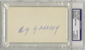 Autographs:Index Cards, 1940's Cy Young Signed Index Card. He holds the single mostunassailable record in baseball's facts and figures, with 511 w...