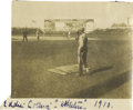 Baseball Collectibles:Photos, 1910 Eddie Collins Photographic Snapshot at Shibe Park. The speedy Hall of Fame second baseman shouts instructions or encou...