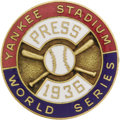 Baseball Collectibles:Others, 1936 World Series Press Pin (New York Yankees). Exceptionalspecimen is as bright and shiny as was a rookie named Joe DiMag...