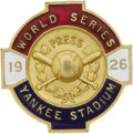 Baseball Collectibles:Others, 1926 World Series Press Pin (New York Yankees). Another simply stunning piece that must have just dropped out of a time mac...